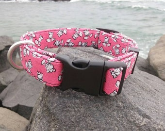 Pink and Black Floral Dog Collar