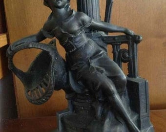 Antique Art Nouveau Spelter Candlestick of Female Leaning Against a Lamppost - Early 1900's