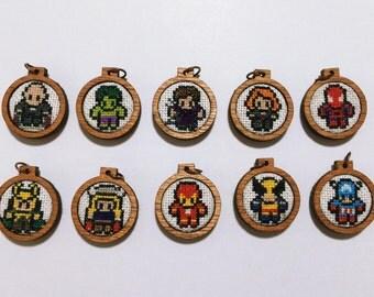 xmen cross stitched pendantcharmxmas ornaments wooden frame