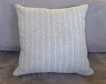 Wool and Acrylic mix, Cushion Cover: Gray with White Stripe,