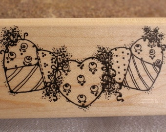 Three Hearts Dots Stamp - Wood Stamp for Scrapbooking or Card Making  Border Stamp