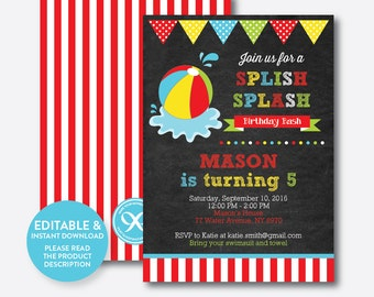 Instant Download, Editable Beach Ball Birthday Invitation, Beach Party Invitation, Pool Party Invitation, Splish Splash, Chalkboard(CKB.108)