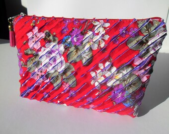 Clutch bag-handmade handbags-clutch purse-Fabric handbags-Patchwork bag-Gift for women- annivarsary gift for her-Makeup Bag