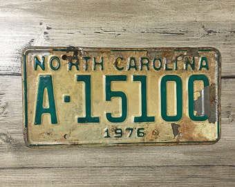 Vintage North Carolina License Plate 1976 | White Green Rusty | Man Cave Decor | Old Collectible | For Him | Garage