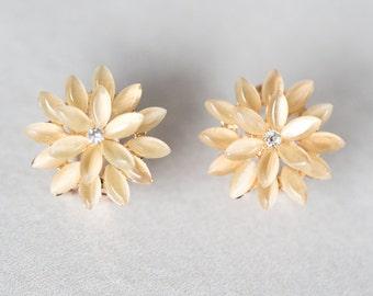 Dahlia Yellow Stud Earrings