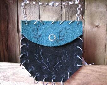 Handmade Genuine Leather Hand Bag Wristlet Black and Green (HB11)