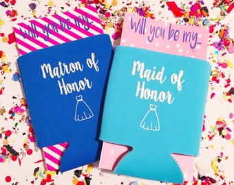 Maid of Honor can cooler, bachelorette can cooler, Matron of Honor huggie, bridesmaid gift, will you be my bridesmaid,  hugger, drink sleeve