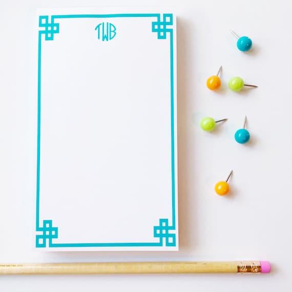 Greek key notepad, personalized notepad, monogrammed notepad, custom notepad, preppy notepad, colorful notepad, greek key notes