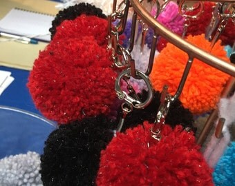 Hand made pompom keychain and tag