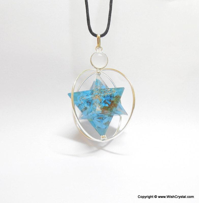 howlite turquoise merkaba pendant orgone by chakragemshop