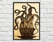 SALE - Kraken Cup of Tea - Steampunk Art Print Poster - Wall Decor, Inspirational Print, Home Decor, Gift