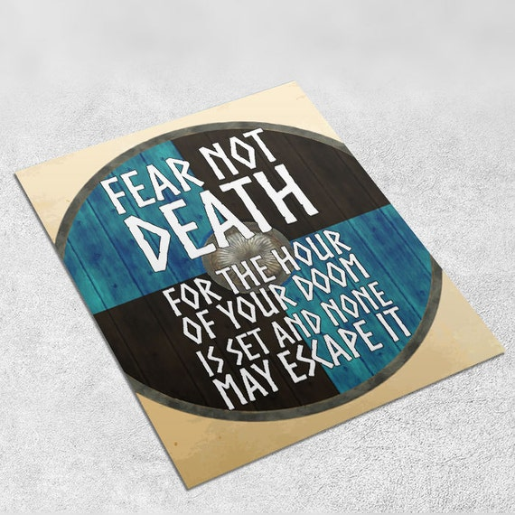 Vikings Quote Art Print 'Fear not death' INSTANT DOWNLOAD 8x10 inches - Wall Decor, Viking printable, Home Decor, Gift