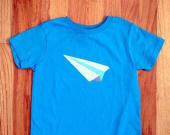 Boys airplane shirt, boys paper airplane shirt, boys plane shirt, boys jet shirt, paper airplane applique, boy birthday gift, boy xmas gift