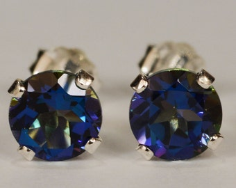 Mystic Blue Topaz Earrings~.925 Sterling Silver Setting~Genuine Natural Mined~6mm Round