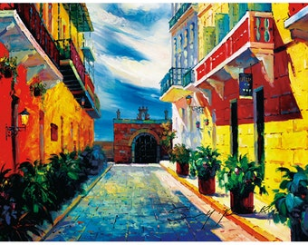 "Puerto Rico, 20""x24"",Old San Juan, Capilla del Cristo, Canvas print , of, oil painting, Original print, signed by painter,"