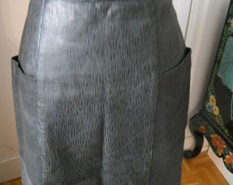 Reduced - 80s vintage  leather skirt - made in Italy