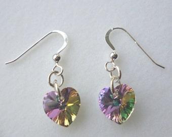 Sterling Silver and Swarovski Heart drop earrings