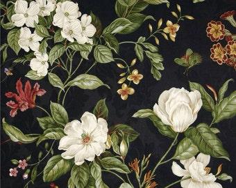 "FABRIC SHOWER CURTAIN Waverly Garden Images Black 72"" x 72"" (standard size)"