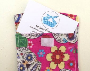 Business Credit Debit Gift Card Pouch Pocket Holder Sugar Skull Candy day of the dead pink