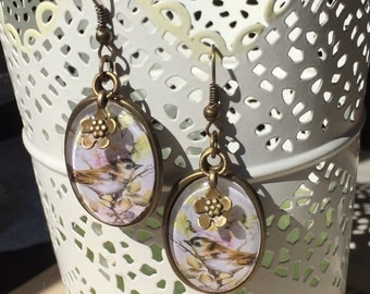 Earrings blackberries with bird