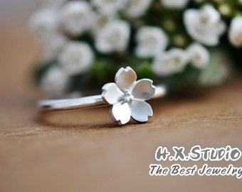 Handemade Sterling Silver Sakura Flower (Cherry Blossom) Ring, Handmade 925 Silver Ring, Personalized Sterling Silver Ring
