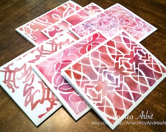 Pink Patterns - Pack of Six Blank A2 Notecards - Watercolor Art Prints