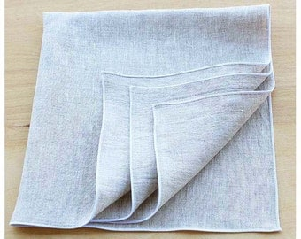 Natural and White Linen Napkins, Organic Napkins, Cloth Dinner Napkins, Organic Wedding, Wedding Napkins, Set of 4, 20""