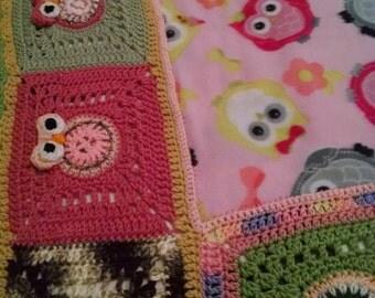 Adorable Owl Afghan  for baby or girl