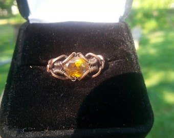 Wire wrapped ring - Sphalerite in Copper, size ~6