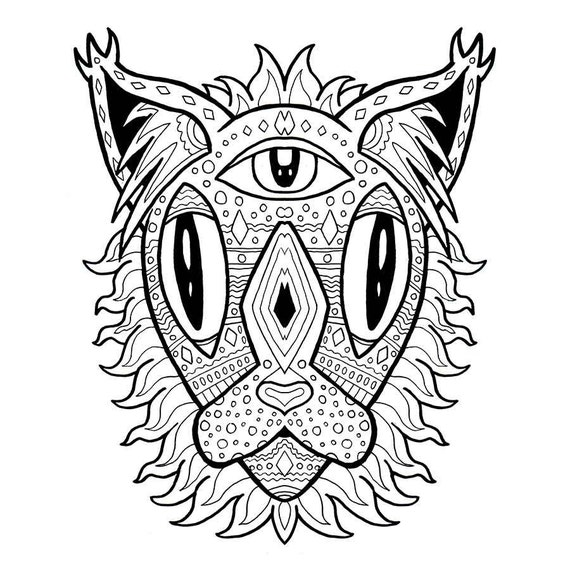 mandala cat coloring page adult coloring anti anxiety. Black Bedroom Furniture Sets. Home Design Ideas