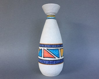 Ü-Keramik / Uebelacker 488 / 26 modernist geomatric handpainted  decor Mid Century Modern  vase , from the 1970s West Germany