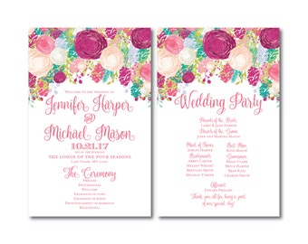 Floral Wedding Program, Watercolor Floral, Floral Wedding Programs, Flower Wedding Programs, Ceremony Programs, Order of Service #CL145