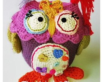 Handmade Stuffed crochet animal crochet owl Amigurumi crocheted