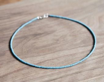 Turquoise Blue // Tiny Seed Beads Choker Necklace // Blue Beaded Choker