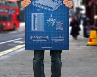 The Atari Retro (Atari 2600) Blueprint - Premium Poster Print