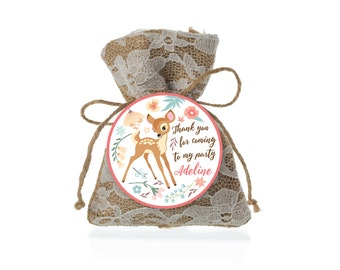 Baby Deer Favor Tag, First Birthday - Gift Tag, Hang Tags, Thank You Tags, woodland deer theme