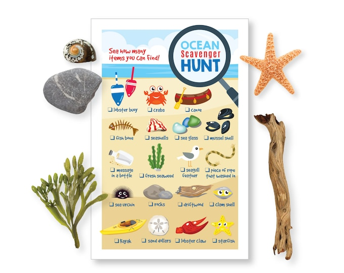 Ocean - Beach Scavenger Hunt Game - Kid's Party Game - seashells, seaglass, starfish - Instant Download