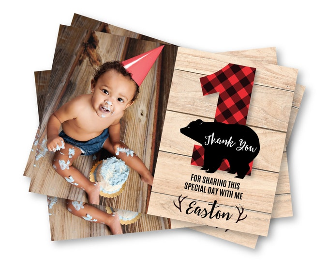 Photo Thank You Lumberjack First Birthday / Printable, Customized, DIY invitation / bear, buffalo plaid, wood / Rustic Woodland boy