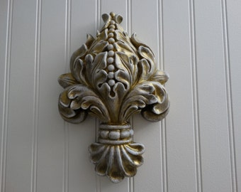 Fleur De Lis wall hanging, ornate home decor, French Cottage Decor