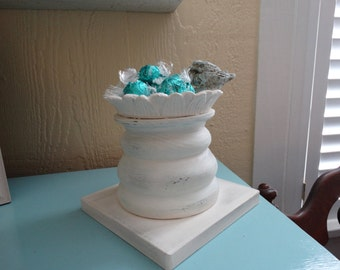 Shabby Cottage multi use Pillar Dish,Candy Dish, Card Holder, Candle holder