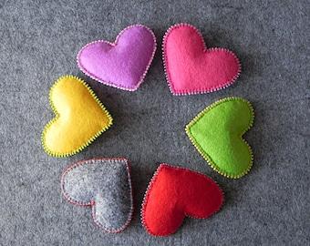 Heart Dekoration Colorful Heart Decor Heart Rustic Decor Holiday Decor Heart Ornament Colorful Felt Heart Valentines Heart Christmas Decor