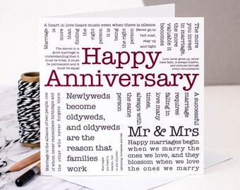 Wedding Anniversary Card; 'Happy Anniversary'; GC120