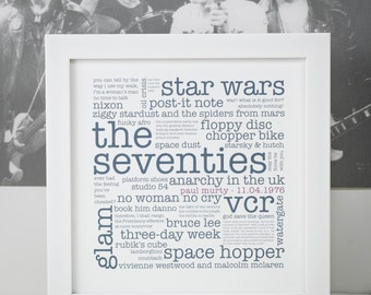 40th Birthday Print; Personalised 40th Birthday Gift; The 1970s; The Big 40; You're 40 Gift; The Seventies; PAP005