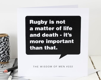 Birthday Card For Men; Rugby Card; Rugby-Mad Card; Card For Dad; Card For Son; Card For Him; GC144