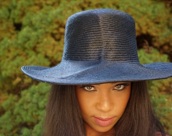 Black Parasisal Straw Sculptured Hat with Brim-Wedding-Race hat-Polo Matches-Chruch hat-summer hat-Perfect for the beach-Destination wedding