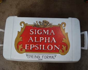 Custom Painted Cooler - shipping factored into price - Great for Fraternity Formals/Mountain Weekends, or any other occasion