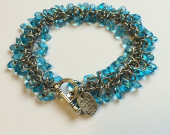 Blue beaded chainmaille bracelet