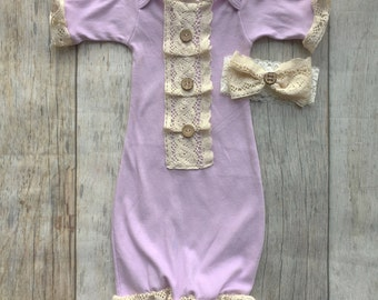 vintage baby girl gown, lavendar and lace gown, baby girl gown, shabby chic, baby girl coming home outfit, baby gown, baby shower