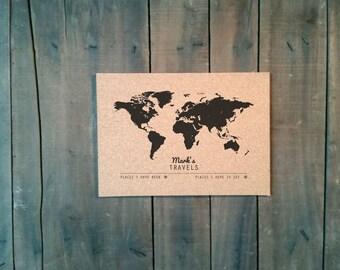 WORLD - MINI Cork Push Pin Travel Map CUSTOMIZED