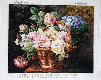 Flowers in a Basket - Finished Tapestry